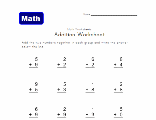 Math Worksheets For 1st Grade – Addition Worksheets for 1st Graders