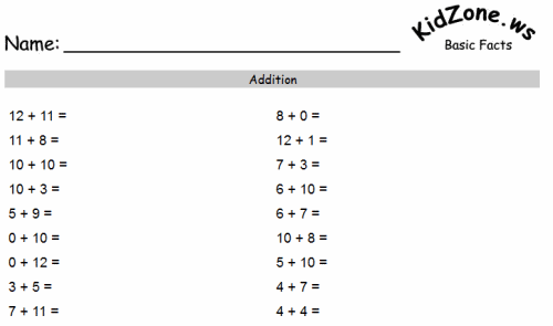 Add and subtract within 20 1st Grade – Addition Facts Worksheet 1st Grade