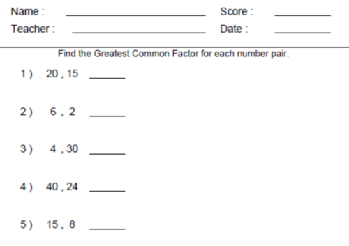 Greatest Common Factor 6th Grade Math Worksheet
