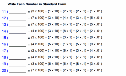 Understand the place value system 5th Grade Math – Decimals in Expanded Form Worksheets