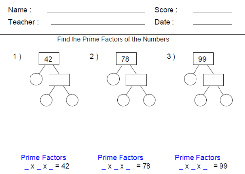 Math Worksheets For 4th Grade – Prime Factorization Tree Worksheet