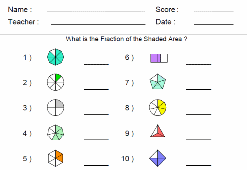 Develop understanding of fractions as numbers – Fraction Worksheet Grade 1