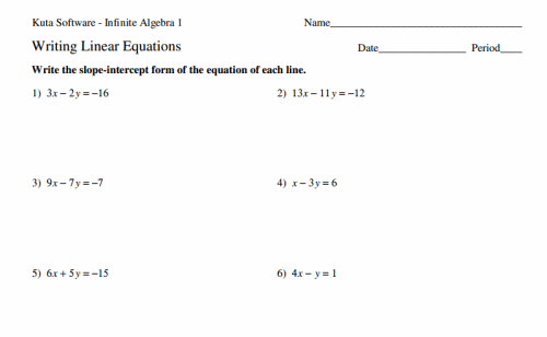 Math Worksheets For 8th Grade – Writing Equations of Lines Worksheet