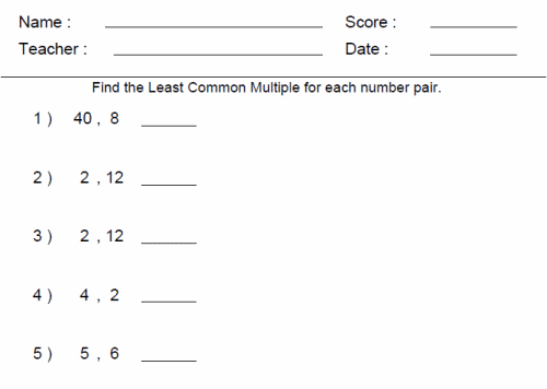 Compute fluently with multidigit numbers and find common factors – Least Common Multiple Worksheets