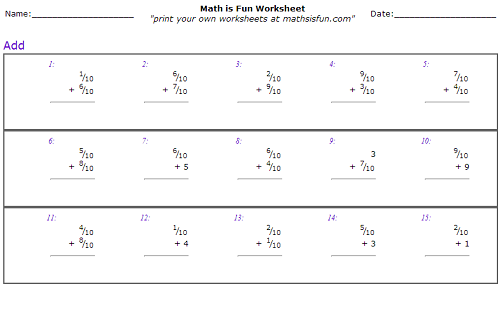 Math Worksheets For 4th Grade – 6th Grade Fraction Worksheet