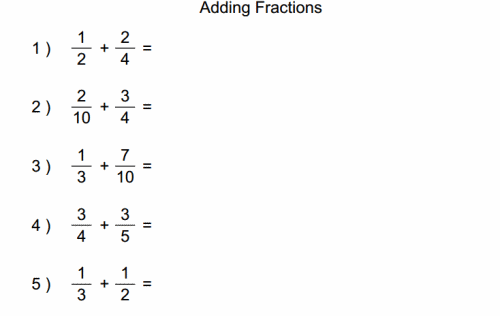 Adding With Unlike Denominators Worksheets – Add Fractions Worksheet