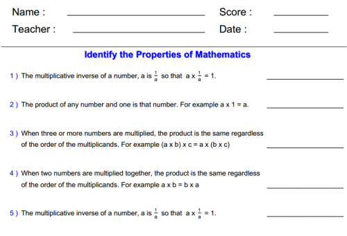 Understand properties of multiplication and the relationship – Properties of Multiplication Worksheet