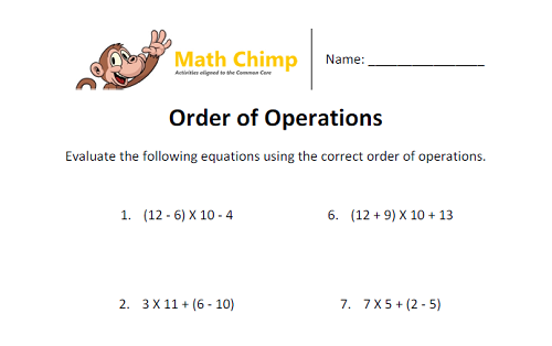Write and interpret numerical expressions 5th Grade Math – Evaluate the Expression Worksheet