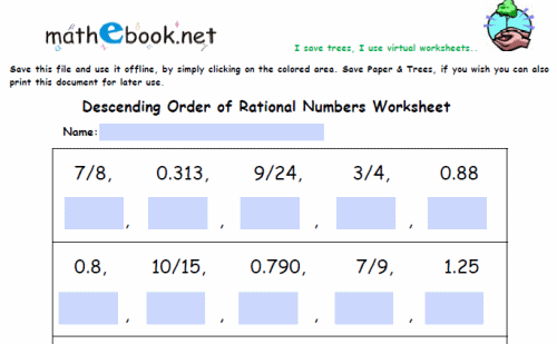 Know that there are numbers that are not rational and approximate – Ordering Rational Numbers Worksheet