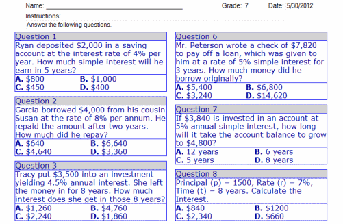 Math Worksheets For 7th Grade – Simple Interest Worksheets