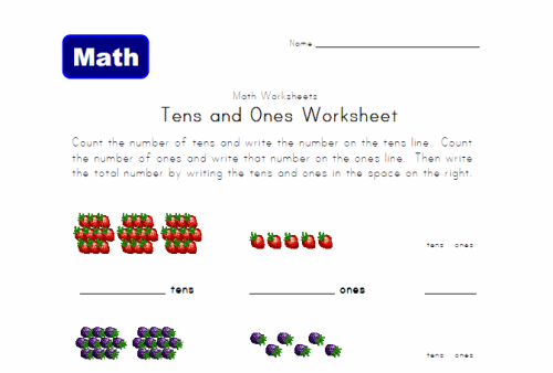 Understand place value 1st Grade – Ones and Tens Worksheets